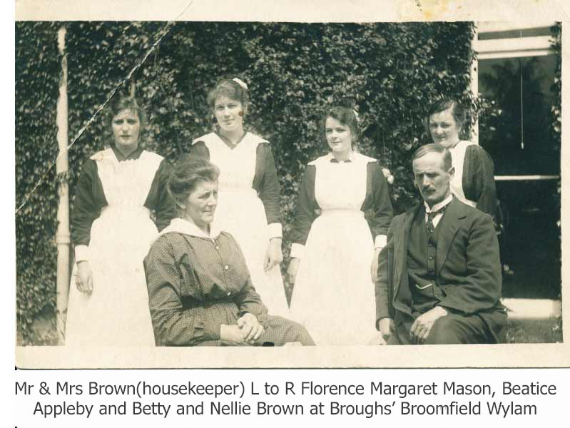Florence Margaret Mason in service at the Brough's in Wylam