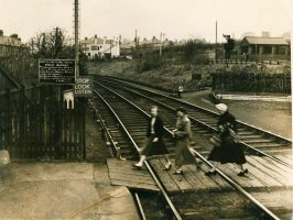 Crossing the tracks at North Wylam Station in March 1959