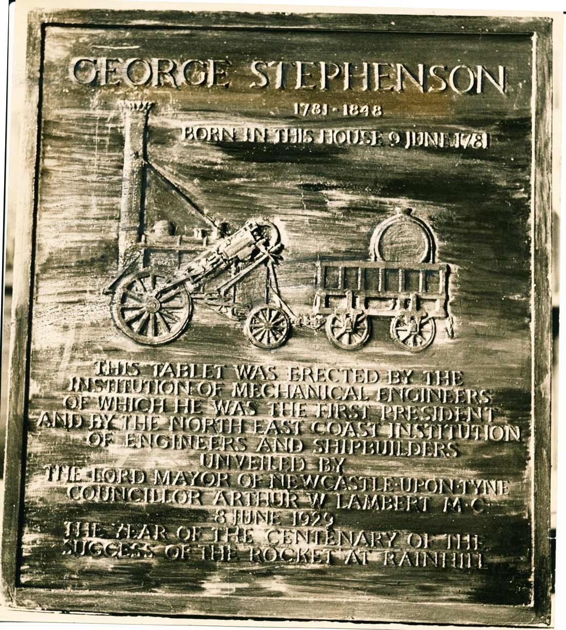 Plaque fixed to George Stephenson's birthplace
