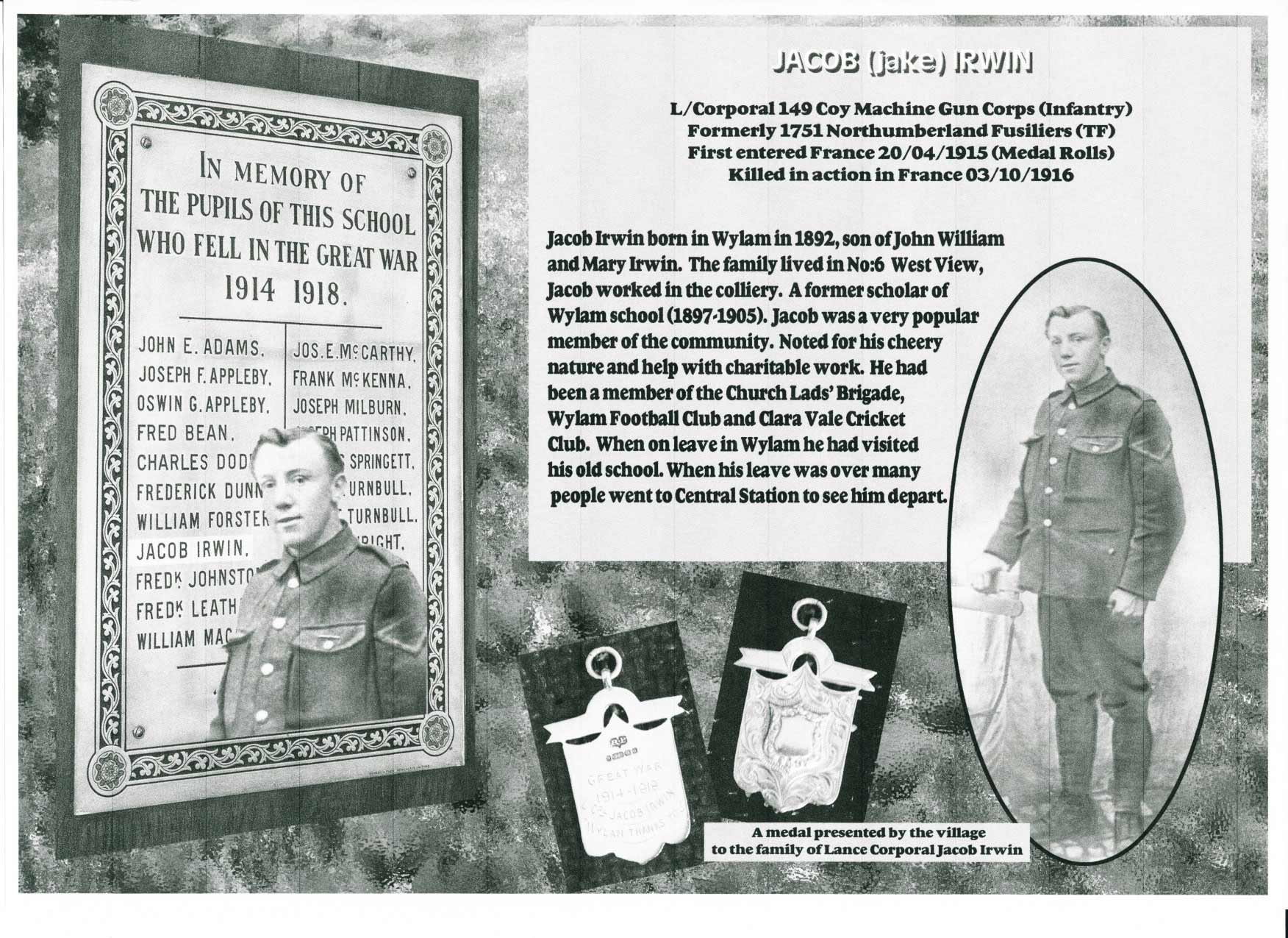 Information about Jacob Irwin who lived in Wylam and was killed in the First World War