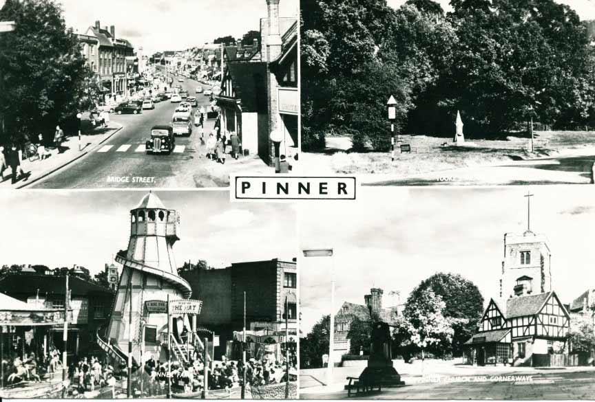 Old postcard with views of Pinner