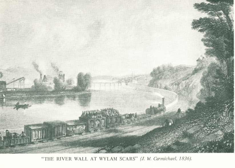 The River Wall at Wylam Scars from a drawing by J W Carmichael 1836