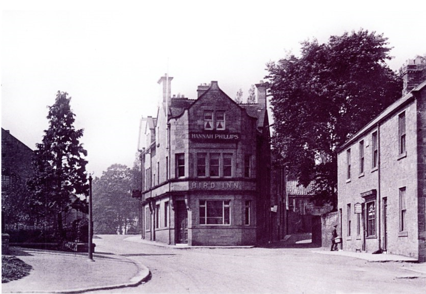 Looking West up the main street towards the Bird Inn with South View cottages on the right