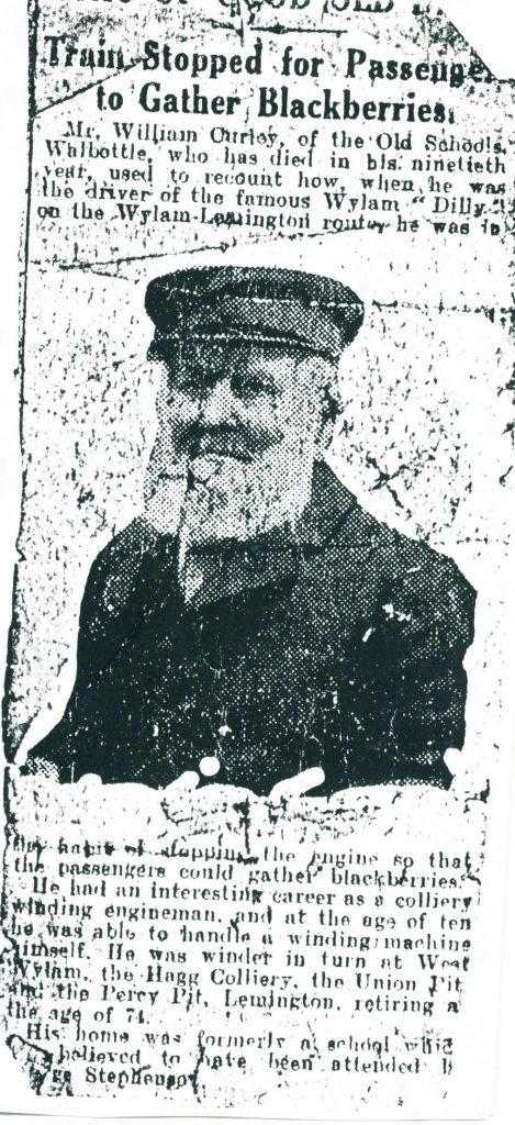 William Curley who drove the Wylam Dilly(Railway train)