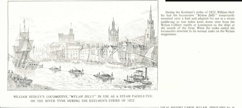 Wylam Dilly adapted for use as a paddle-tug during the keelmens' strike in 1822 towing laden keels down the Tyne